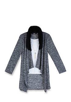 Amy Byer Girls 7-16 Marled Faux Fur Collar Cardigan