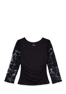 Amy Byer Girls 7-16 Lace Long Sleeve Ruched Top