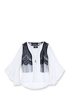 Amy Byer Girls 7-16 2-Piece Crochet Fringe Vest Over Blouse