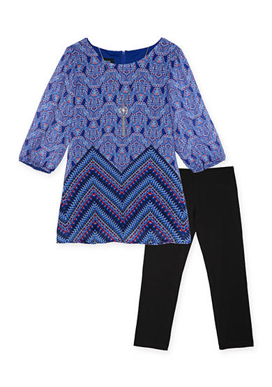 Amy Byer 2-Piece Chiffon Printed Top And Legging Set Girls 7-16