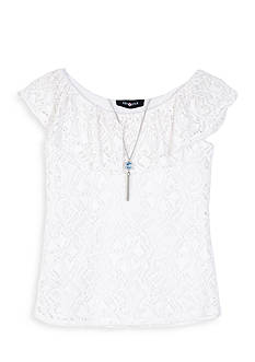 Amy Byer Crochet Ruffle Top Girls 7-16