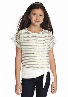 Amy Byer Sequin Striped Side-Tie Top Girls 7-16