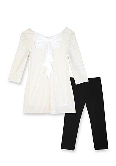 Amy Byer Girls 7-16 Textured Back Bow Tunic And Leggings Set