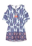 Amy Byer Paisley Cold Shoulder Romper Girls 7-16