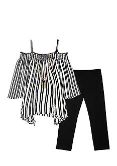 Amy Byer Stripe Sharkbite Top and Legging 2-Piece Set Girls 7-16