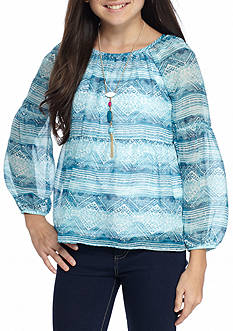 Amy Byer Print Chiffon Babydoll Top with Necklace Girls 7-16