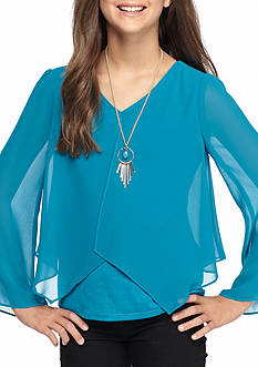 Amy Byer Flyaway Solid Chiffon Top Girls 7-16