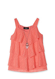 Amy Byer Tiered Crochet Lace Necklace Tank Girls 7-16