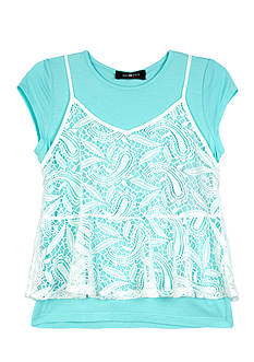 Amy Byer 2Fer Lace Tank Over Tee Girls 7-16