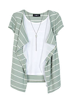 Amy Byer Striped Waffle Knit Cardigan With Attached Tank Girls 7-16