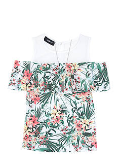 Amy Byer Tropical Print Cold Shoulder Top Girls 7-16
