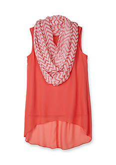 Amy Byer High Low Chiffon Top with Chevron Scarf Girls 7-16