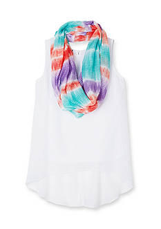 Amy Byer 2-Piece High Low Top and Ombre Scarf Set Girls 7-16