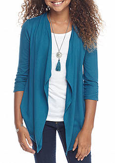 Amy Byer Lace Back Attached Cardigan and Tank with Necklace Girls 7-16