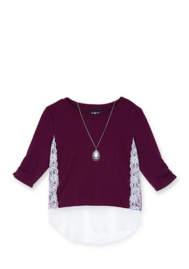 Amy Byer Lace Sweater and Undershirt Trim Top with Necklace Girls 7-16
