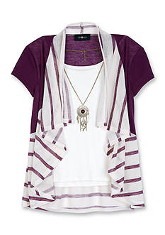 Amy Byer Ruffle Stripe 2Fer Top Girls 7-16