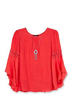 Amy Byer Solid Gauze Flutter Sleeve Top Girls 7-16