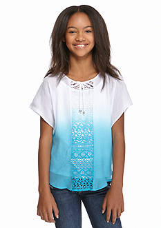 Amy Byer 2-Piece Lace Panel Ombre Gauze Top Girls 7-16