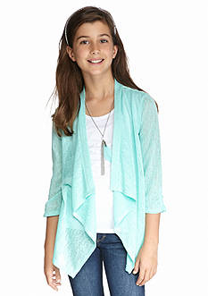 Amy Byer Tribal Lace Back 2Fer Cardigan Girls 7-16