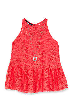 Amy Byer Lace Peplum Cutaway Top with Necklace - Girls 7-16