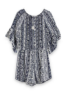 Amy Byer Printed Peasant Romper Girls 7-16