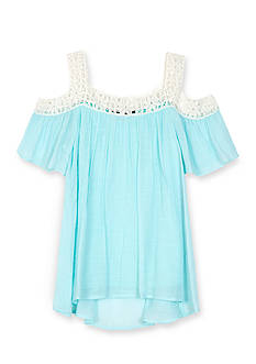 Amy Byer Gauze Cold Shoulder Top Girls 7-16