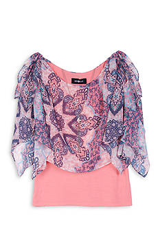 Amy Byer Chiffon Popover Top with Attached Necklace Girls 7-16