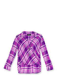 Amy Byer Plaid Mock Wrap Shirttail Top with Necklace Girls 7-16