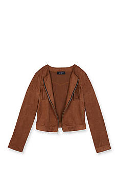 Amy Byer Fringe Trim Suede Jacket Girls 7-16