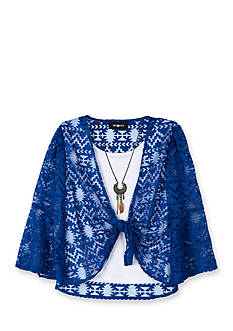 Amy Byer Burnout Knit Tie Front Top & Necklace Girls 7-16