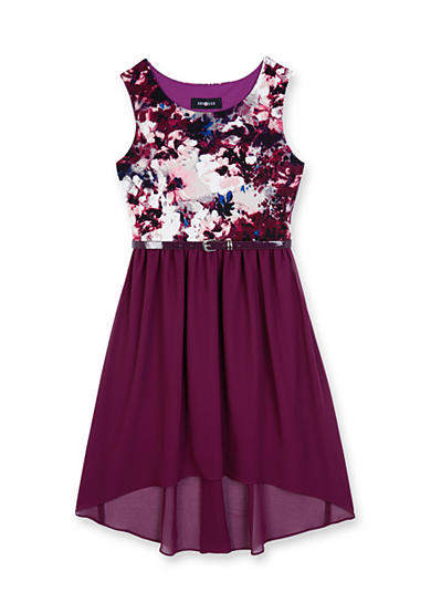 Amy Byer Sleeveless Flocked Scuba Bodice Hi-Lo Dress Girls 7-16