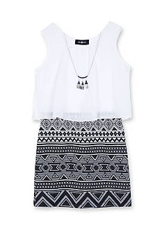 Amy Byer Sleeveless Tribal Print Skirt with White Top Girls 7-16