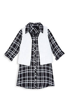 Amy Byer Plaid Shirt Dress with Poodle Vest Girls 7-16