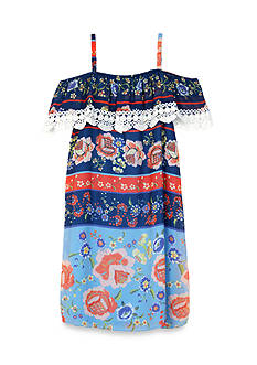 Amy Byer Cold Shoulder Printed Dress Girls 7-16