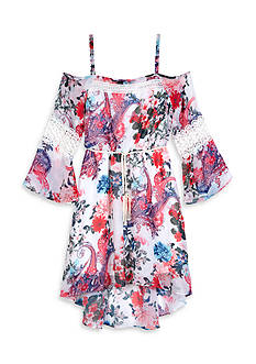 Amy Byer Print Chiffon Off The Shoulder Bell Sleeve Dress Girls 7-16