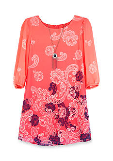 Amy Byer Chiffon Border Print Dress Girls 7-16