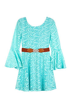 Amy Byer Long Bell Sleeve Belted Lace Dress Girls 7-16