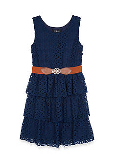 Amy Byer Tiered Lace Belted Dress Girls 7-16