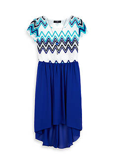 Amy Byer Short Sleeve Chevron High Low Dress Girls 7-16