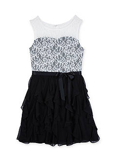 Amy Byer Girls 7-16 Illusion Dress With Ruffle Skirt