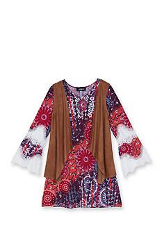 Amy Byer 2-Piece Printed Dress & Suede Vest Set Girls 7-16