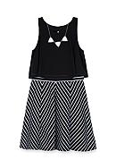 Amy Byer Popover Dress With Mitered Skirt Girls