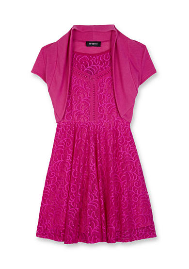 Amy Byer 2 Piece Lace Skater Dress with Shrug Girls 7- 16