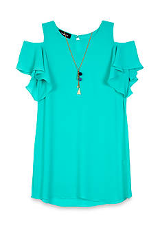 Amy Byer Solid Cold Shoulder Dress Girls 7-16