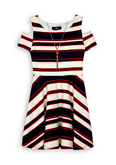 Amy Byer Nautical Stripe Cold Shoulder Dress Girls 7-16