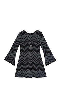 Amy Byer Lurex Chevron Dress Girls 7-16