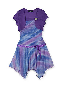 Amy Byer Shirred Ombre Shark-Bite Dress Girls Plus