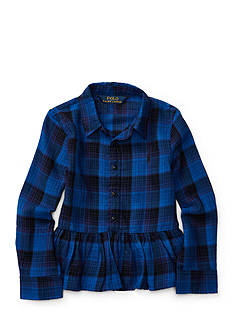Ralph Lauren Childrenswear Plaid Cotton Peplum Shirt Girls 4-6x