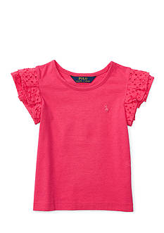 Ralph Lauren Childrenswear Cotton Jersey Flutter Top Girls 4-6x