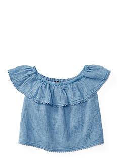 Ralph Lauren Childrenswear Ruffled Chambray Top Girls 4-6x